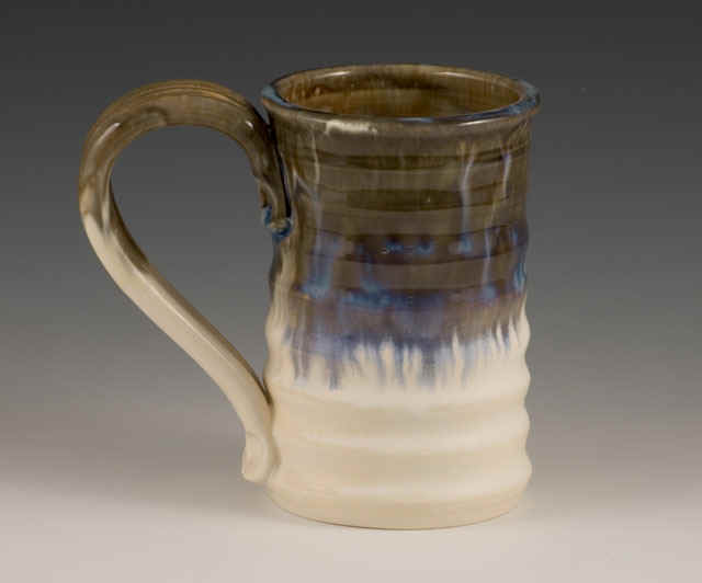 Handmade ripple mug in gauley green.