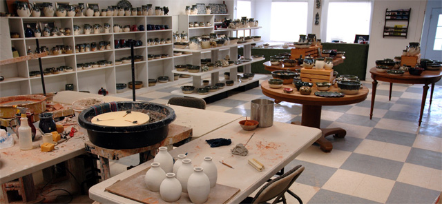 Handmade pottery in our gallery at our studio